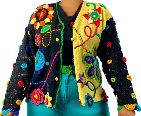 Vintage embroidered floral cardigan sweater size … - image 3