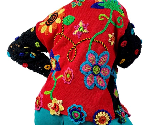 Vintage embroidered floral cardigan sweater size … - image 2