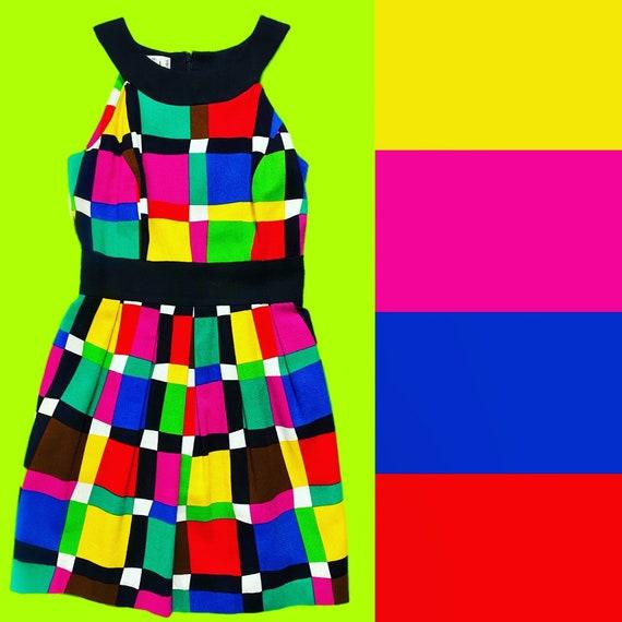 Vintage colorful color block 80s dress size 4