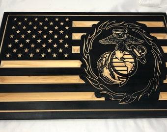 Custom Made US Flag with US Marines insignia