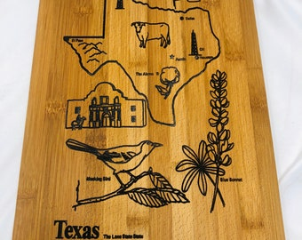 Beautiful State of Texas souvenir Bamboo Wood Cutting Board with Silver Handle 2001013