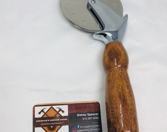 Lovely Handmade Mesquite and stainless steel paddle pizza cutter 19102