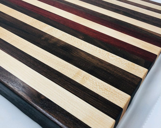 Spectacular X-Large thick Edge Grain Handcrafted African Padauk, Maple and Walnut Stripe Cutting board chopping block 190913