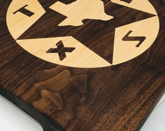 Beautiful Walnut with Maple Inlay Extra Thick handcrafted Texas cutting board butchers block, chopping block 1903114