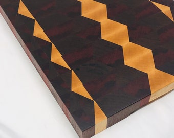 1Stunning Extra Large Thick End Grain custom handcrafted Maple, Walnut, and African Padauk Cutting Board Butchers Block 1910146