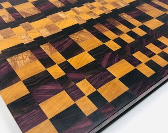 Stunning Extra Large End Grain Spalted Pecan, Yellow Heart,Purple Heart and Walnut Checkered wood Cutting Board  1907165