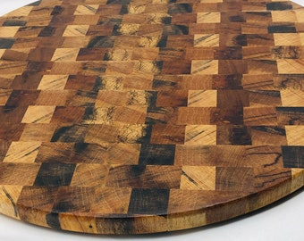 Sutnning Handcrafted End-grain Texas spalted pecan Round cutting board butchers block