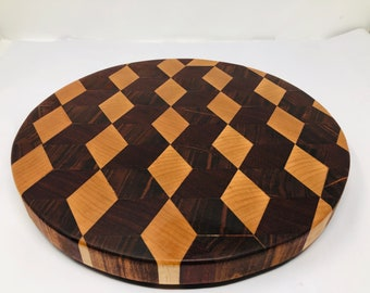 Stunning 3D Extra Large Thick End Grain Circle handcrafted Maple, Mahogany, Afican Paduak Cutting Board Butchers Block 1906131