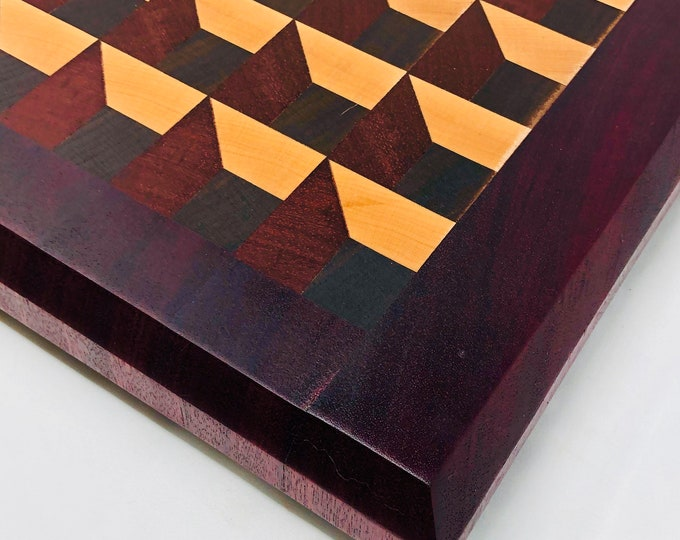 Featured listing image: Incredible Large, Extra Thick 3D Box Effect End Grain handcrafted Walnut, Purple Heart, Padauk & Maple cutting board chopping block 1911179