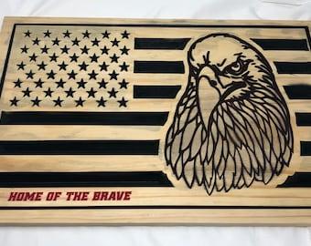 Custom Made US Flag with Eagle