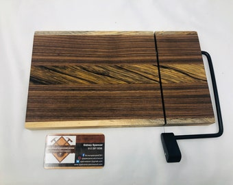 Incredible One Of A Kind Handcrafted Face-Grain Black Limba, Walnut & Spalted Hackberry Cheeseboard 19108