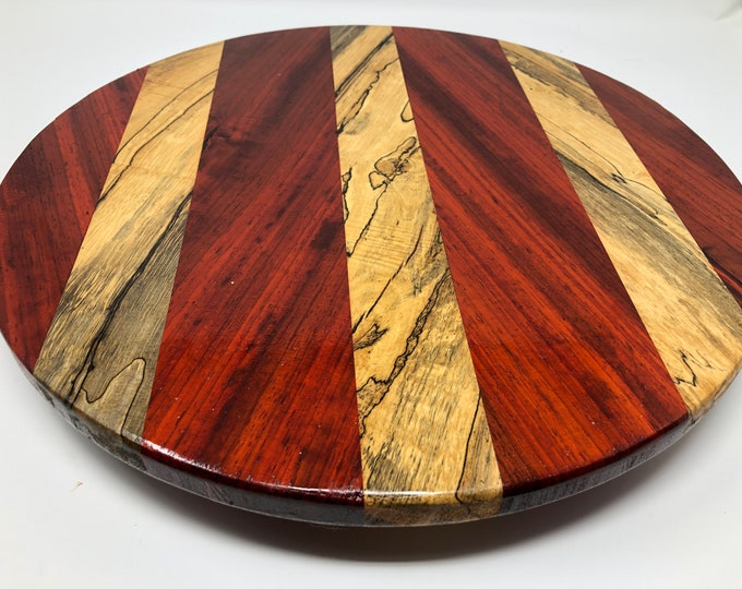 Featured listing image: Beautiful Texas Spalted Gumbeilia and Exotic African Paduak Lazy Susan sku 1905124