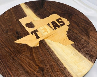 Extraordinary Walnut State Of Texas with Maple Inlay Lazy Susan sku 1908021