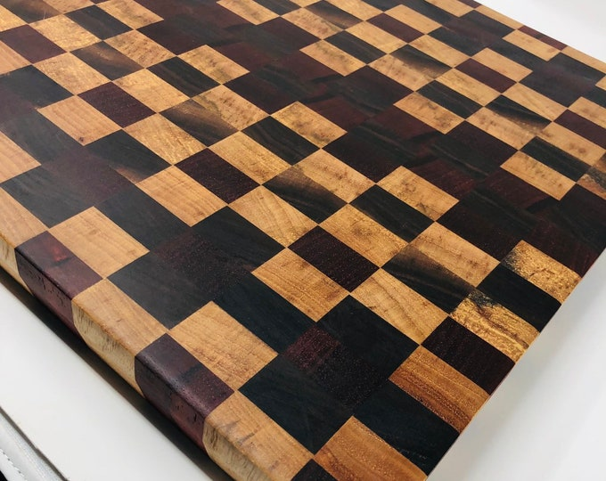 Featured listing image: Exquisite Extra Large End Grain Spalted Pecan, Padauk and Walnut Checkered wood Cutting Board  1907164