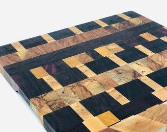 Beautiful End Grain custom handcrafted Yellow Heart, Mahogany, Maple, Walnut Cutting Board Butchers Block 1910142