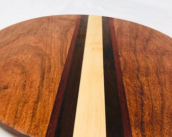 Lovely Minimalist Custom Handcrafted Stripe Mesquite, Padauk, Walnut & Maple Round Circle Cutting Board 1911185