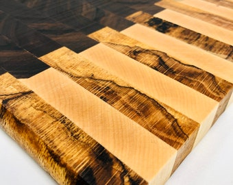 Stunning custom handcrafted Walnut, Maple, and Spalted Red Oak Cutting Board 191060
