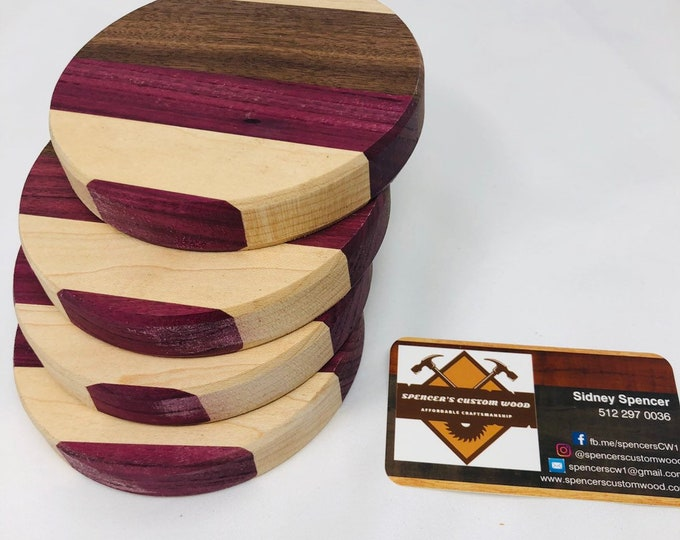 Excellent Rounded walnut, purple heart, & maple coasters inlay set 1909123