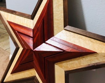 Show Stopping Extra large African Padauk, Maple and Walnut 5 Point Lone Star 1904058