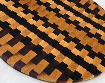 Excellent Large Circle Round End Grain Cutting Board Serving Padauk, Maple, Purple Heart and Hickory Checkered 1911184