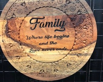 Exquisite Unique Family Wall Art Decor Solid Spalted Pecan Wood 1908251