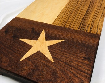Rustic Texas Flag Face Grain wood handcrafted Zebrawood, Maple, Walnut and Maple Star Inlay Cutting board chopping block 1909304