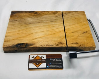 Naturally Beautiful One Of A Kind Handcrafted Face-Grain Spalted Hackberry Cheeseboard 191018