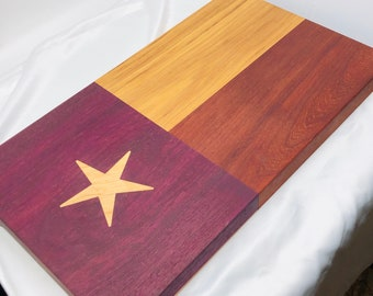 Gorgeous Texas Flag Face Grain wood handcrafted Hickory, Paduak, Purple Heart and Maple Star Inlay Cutting board chopping block 1909305