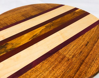 Stunning Minimalist Custom Handcrafted Stripe Mesquite, Padauk & Maple Round Circle Cutting Board 1911187