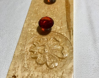 Custom made coat/jewelry wall rack Birdseye Maple wood with red crystal knobs 181112