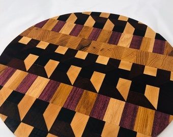 Beautiful End Grain Circle handcrafted Hickory, Maple, Walnut, African Padauk & Purple Heart Cutting Board 1911189