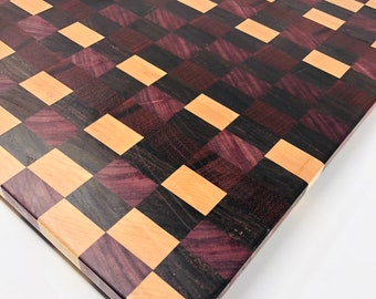 Lovely Handcrafted extra large End Grain Purple Heart, Maple, and Walnut Checkered wood Cutting Board butchers block 1907163