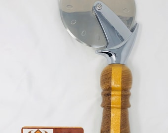 Gorgeous Handmade Oak & Yellow heart handle and stainless steel Pizza Cutter 191083