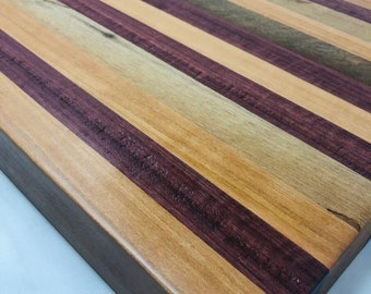 Fantastic X-Large thick Edge Grain Handcrafted Purple Heart, Cherry, and Spalted Pecan Stripe Cutting board chopping 190906