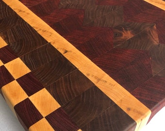 Extra Large End Grain custom handcrafted  Walnut, Maple, Purple Heart, African Padauk cutting board chopping block 190105
