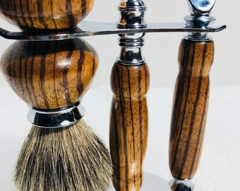 Stunning 3 Piece custom made zebra wood topped off with Chrome Metal fittings Gillette Fusion razor and brush kit 180055