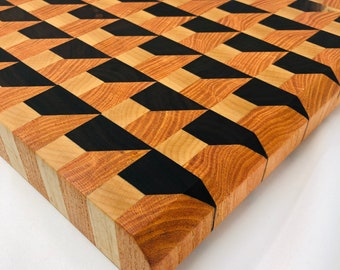 Stupendous Large, Extra Thick 3D Box Effect End Grain Walnut, Maple, and Coffee Cutting Board Chopping block 2002166