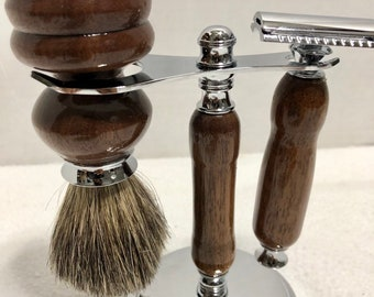 Unique 3 Piece custom made Beautiful Walnut topped off with Chrome straight / safety razor and brush kit 181128
