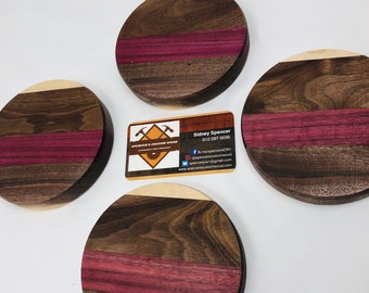 Beautiful rounded walnut, purple heart, maple coasters inlay set 1909122