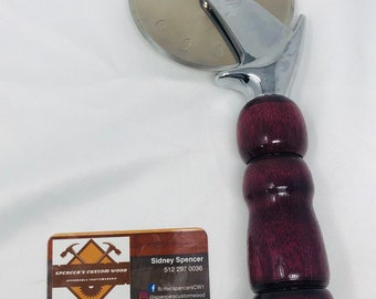 Magnificent Custom made Purple Heart handle and stainless steel Pizza Cutter 199240