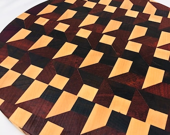 Stunning Thick End Grain Circle handcrafted Maple, Walnut, Afican Padauk & Purple Heart Cutting Board Butchers Block 1911186