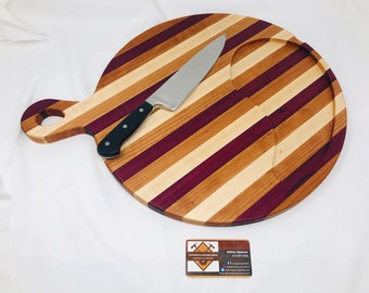 Incredible Circle Round Edge Grain Cutting Board Serving w/ Handle Maple, Cherry and Purple Heart Stripe 199211