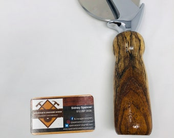 Exquisite Handmade Spalted Pecan handle and stainless steel Pizza Cutter 191032