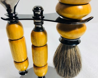 One of a kind 3 Piece custom made orange osage wood topped off with Gun Metal fittings Gillette Fusion razor and brush kit 180052