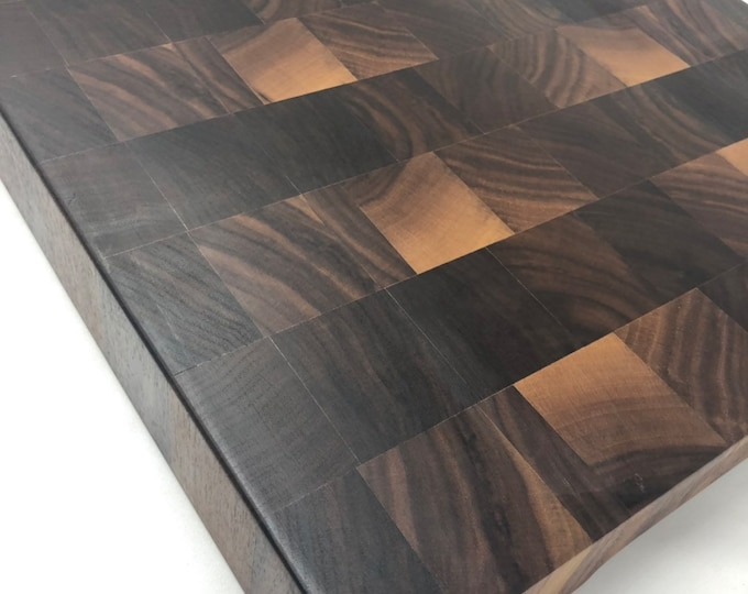 Excellent Thick End Grain custom handcrafted  Black Walnut cutting board chopping block 190914