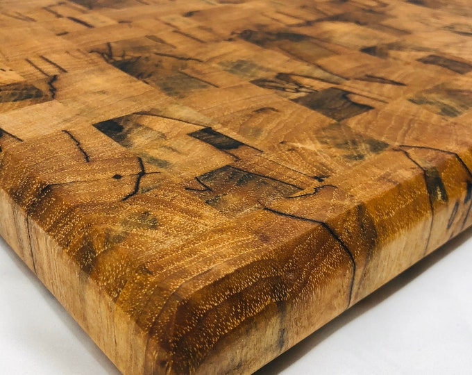 Featured listing image: Absolutely Beautiful Thick End Grain Handcrafted Spalted Cutting board butchers block 1911171