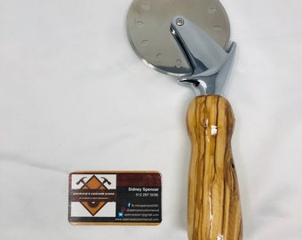 Stunning Handmade Olive Wood Heavy Duty Handle and Stainless Steel Pizza Cutter 19105