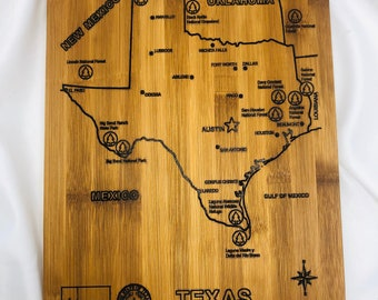 State of Texas souvenir Bamboo Wood Cutting Board with Silver Handle 2001012