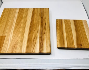 Beautiful 2 piece Pecan/Hickory Extra Thick handcrafted cutting board and cheeseboard set 190415