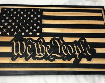 """Custom Made US Flag with """"We the People"""""""